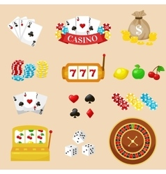 Gambling pictograms set Deck of cards and casino vector image vector image
