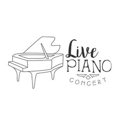 piano live music concert black and white poster vector image vector image