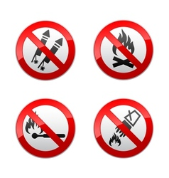 set prohibited signs - fire vector image