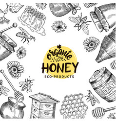 background with sketched honey elements vector image vector image