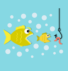 big fish eat little fish hook and worm bait vector image