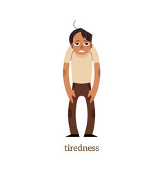flat man suffering from tiredness vector image vector image