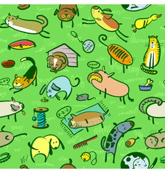 pattern with cats and dogs vector image vector image