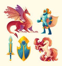 set of fantasy game design objects vector image vector image