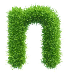 small grass letter n on white background vector image vector image