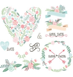 Wedding Floral set Labels Ribbons Hearts Arrow vector image vector image