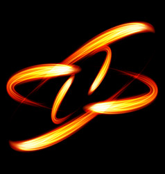 abstract realistic round fire shape dark vector image