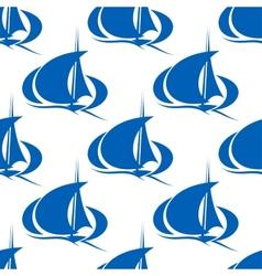 Blue yachts or sailboat seamless pattern vector image vector image