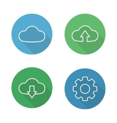Cloud hosting flat linear icons set vector image vector image