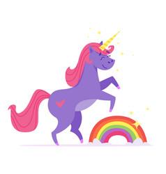 happy unicorn with rainbow vector image