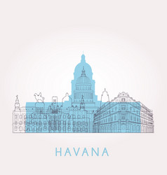 Outline havana skyline with landmarks vector