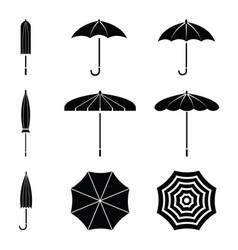 Black umbrella icon set vector
