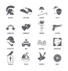 Film genres icons black set vector