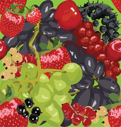 Seamless bright background with berries vector image vector image