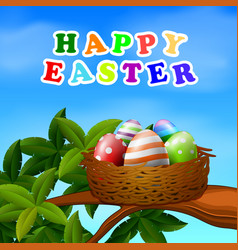 a nest with easter eggs vector image