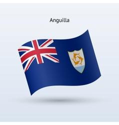 Anguilla flag waving form vector image