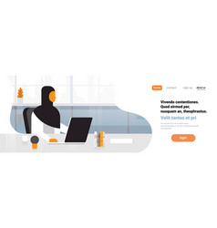 arab woman boss using laptop workplace office desk vector image