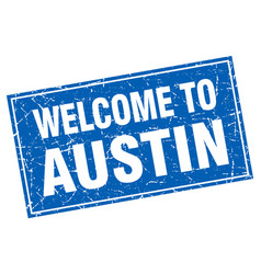 Austin blue square grunge welcome to stamp vector