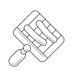 Bbq pan for grill on flame line icon vector