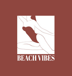 beach vibes hand drawn girl in vector image