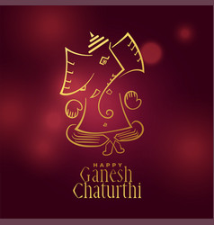 Beautiful ganesh chaturthi festival greeting vector