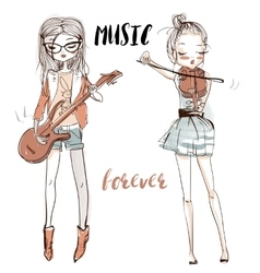Beautiful girls with the musical instruments vector