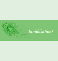 Beautiful peacock feather banner for janmashtami vector