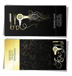 beauty salon and hairdresser gold business card vector image