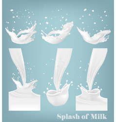 Big set of milk splashes and drops vector