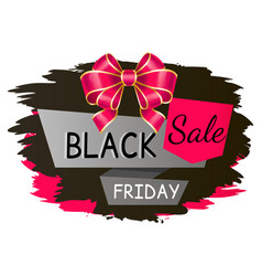 black friday sale promotional banner with bow vector image