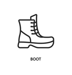 Boot flat line icon shoes vector