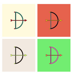 Bow and arrow icon in flat style collection vector