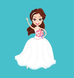 Bride holding bouquet wedding element vector