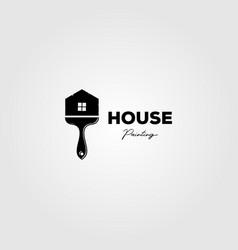 brush house logo painting business design vector image