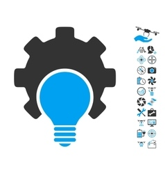 Bulb Configuration Gear Icon With Air Drone Tools vector