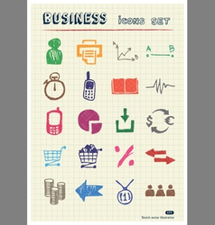 Business web icons set drawn by color pencils vector