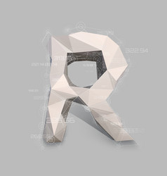 Capital latin letter r in low poly style vector