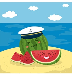 Captain watermelon at the beach vector