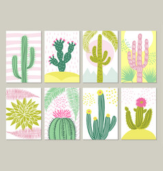 cards template with pictures cactuses vector image