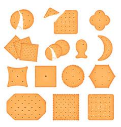 Cartoon color cracker chips icon set vector