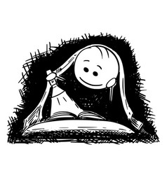 Cartoon of man or boy reading a book with vector