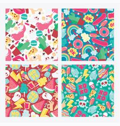 cartoon seamless pattern girlish vector image