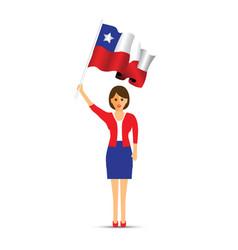 Chile flag waving woman vector