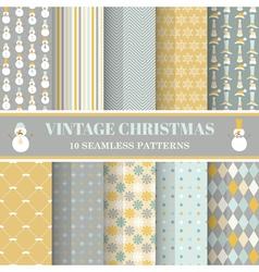 Christmas Retro Set - 10 seamless patterns vector