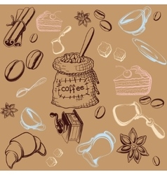 Coffe Set Background vector image