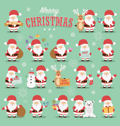 Collection of cute santa claus characters vector