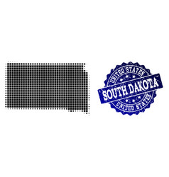 Composition of halftone dotted map of south dakota vector
