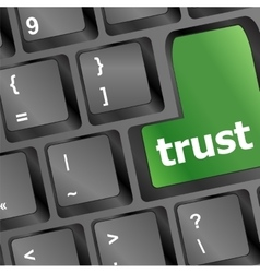 Computer keyboard with trust button business vector image