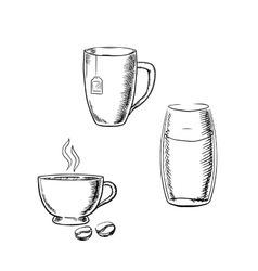 Cup of coffee tea and glass water sketches vector image