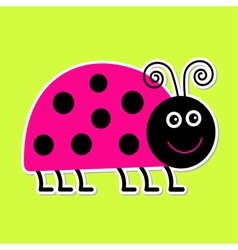 Cute cartoon pink lady bug isolated vector